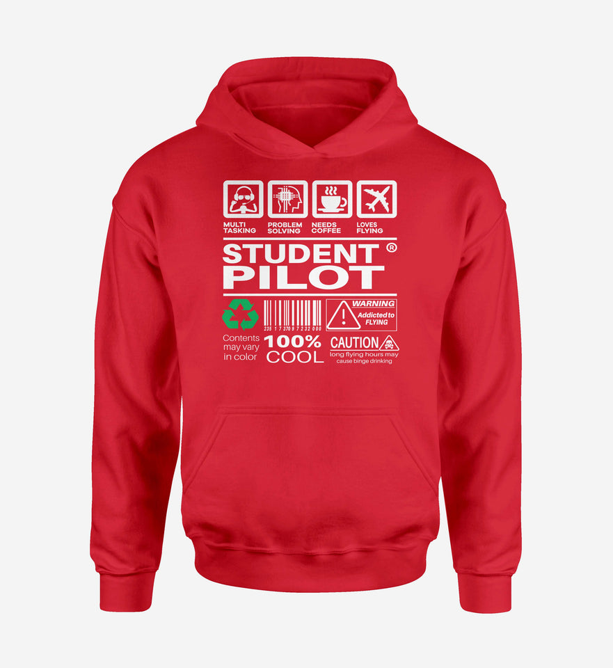 Student Pilot Label Designed Hoodies