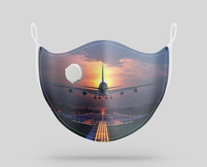 Super Airbus A380 Landing During Sunset Designed Face Masks