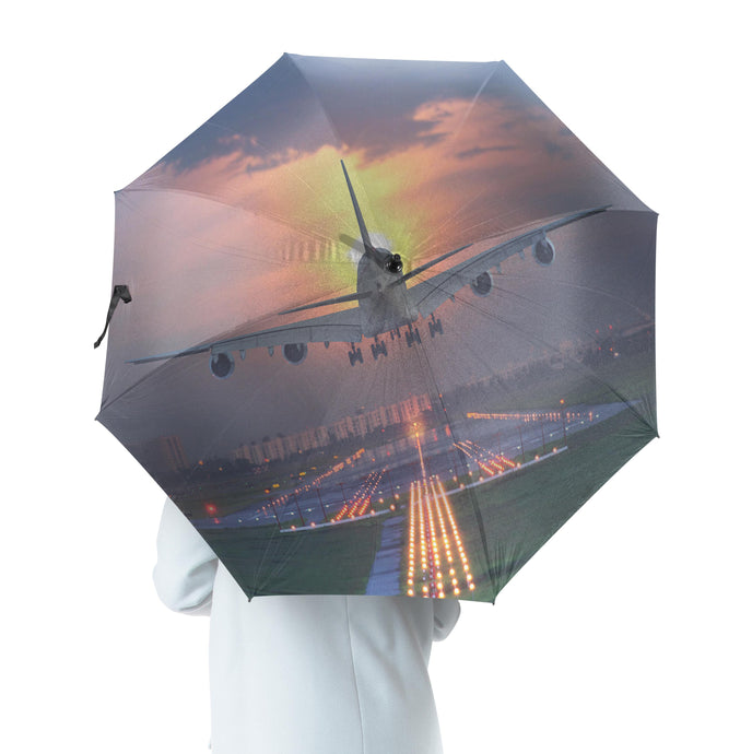 Super Airbus A380 Landing During Sunset Designed Umbrella
