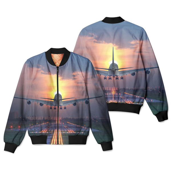 Super Airbus A380 Landing During Sunset Designed 3D Pilot Bomber Jackets