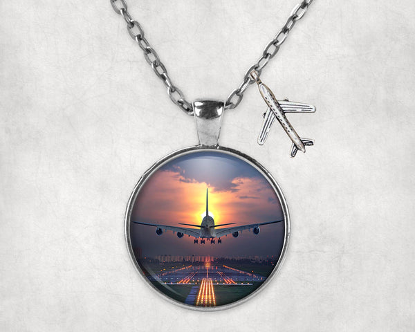 Super Airbus A380 Landing During Sunset Designed Necklaces