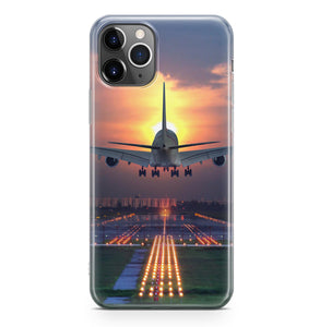 Super Boeing 747 Landing During Sunset Printed iPhone Cases