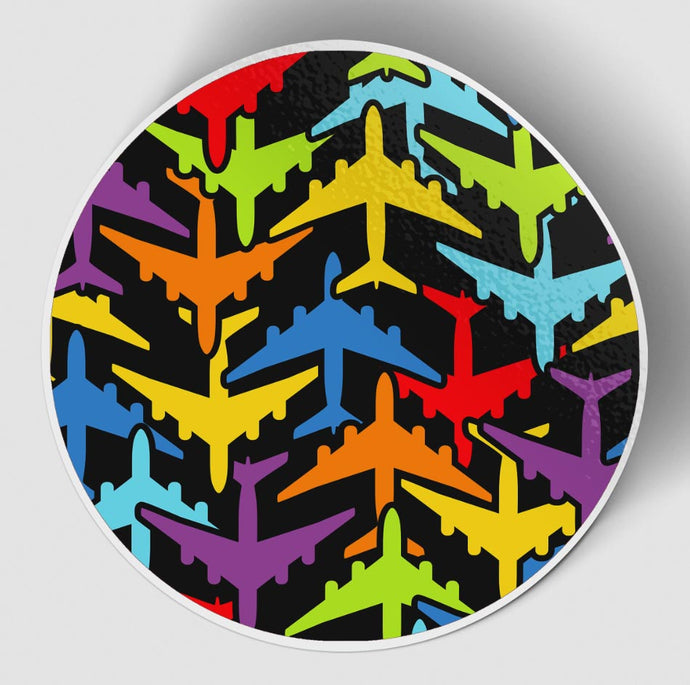 Super Colourful Airplanes Designed Stickers