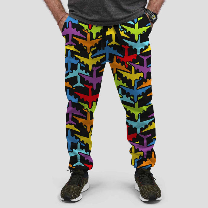 Super Colourful Airplanes Designed Sweat Pants & Trousers