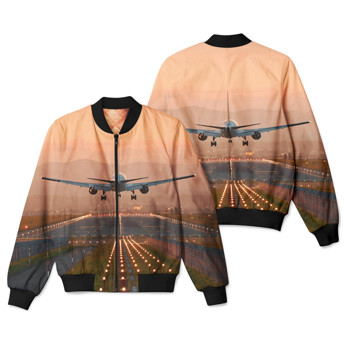 Super Cool Landing During Sunset Designed 3D Pilot Bomber Jackets