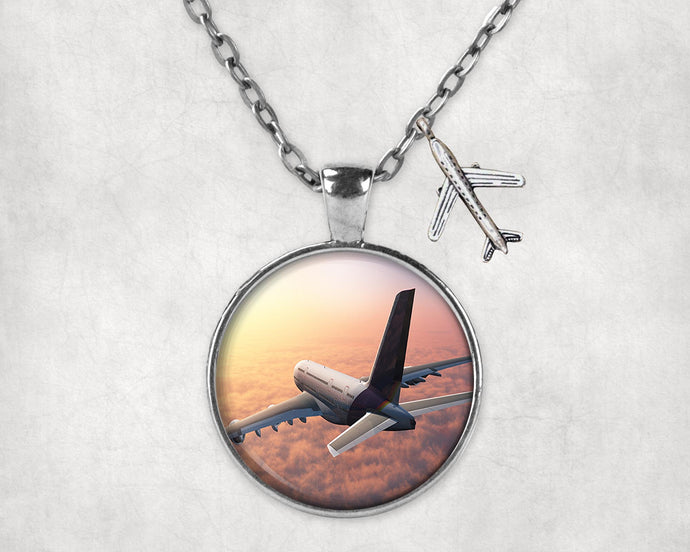 Super Cruising Airbus A380 over Clouds Designed Necklaces