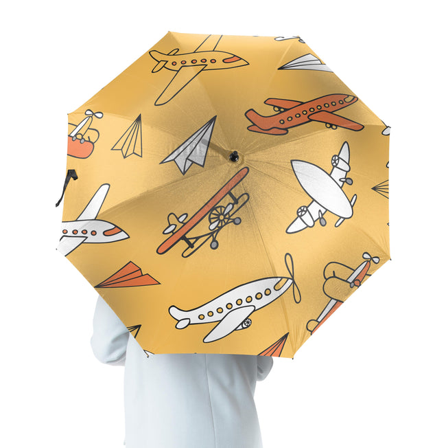 Super Drawings of Airplanes Designed Umbrella