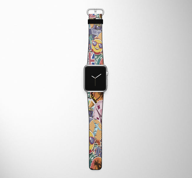 Super Funny Travel Stickers Designed Leather Apple Watch Straps