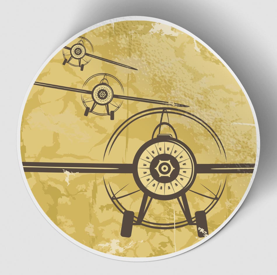 Super Vintage Propeller Designed Stickers