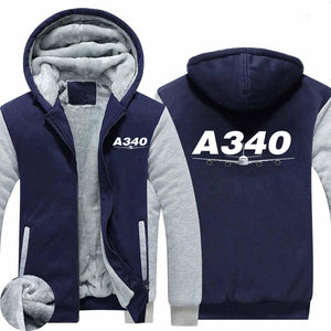 Super Airbus A340 Designed Zipped Sweatshirts