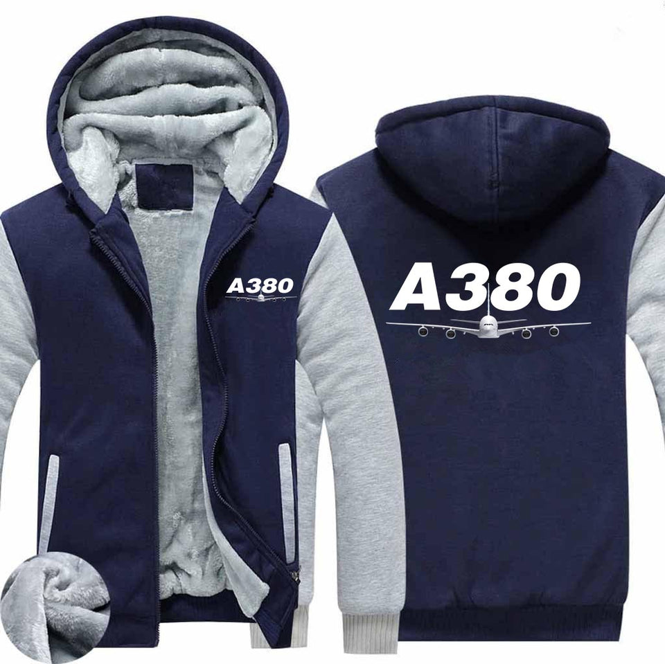 Super Airbus A380 Designed Zipped Sweatshirt