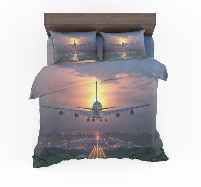 Super Airbus A380 Landing During Sunset Designed Bedding Sets