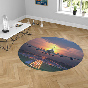 Super Airbus A380 Landing During Sunset Designed Carpet & Floor Mats (Round)
