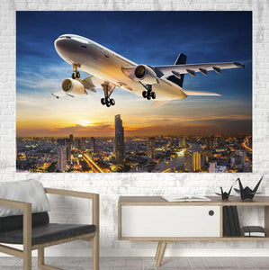 Super Aircraft over City at Sunset Printed Canvas Posters (1 Piece)