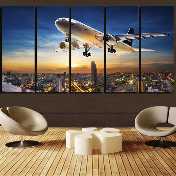 Super Aircraft over City at Sunset Canvas Prints (5 Pieces)