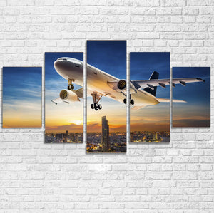 Super Aircraft over City at Sunset Multiple Canvas Poster
