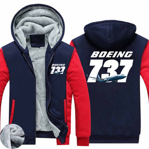 Super Boeing 737+Text Designed Zipped Sweatshirts