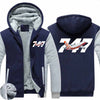Super Boeing 747-800 Intercontinental Designed Zipped Sweatshirts