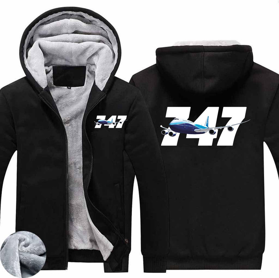 Super Boeing 747 Designed Zipped Sweatshirts