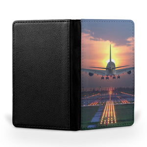 Super Boeing 747 Landing During Sunset Printed Passport & Travel Cases