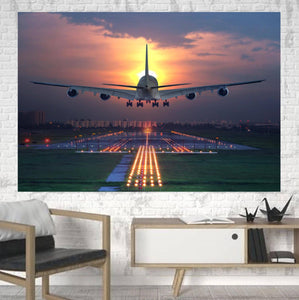 Super Boeing 747 Landing During Sunset Printed Canvas Posters (1 Piece) Aviation Shop