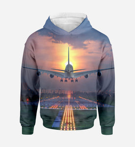 Super Boeing 747 Landing During Sunset Printed 3D Hoodies