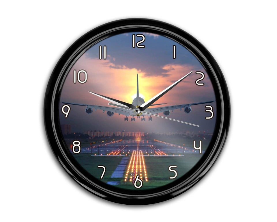 Super Boeing 747 Landing During Sunset Printed Wall Clocks Aviation Shop