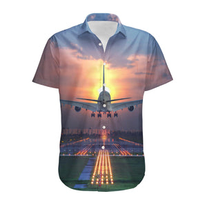 Super Airbus A380 Landing During Sunset Designed 3D Shirts