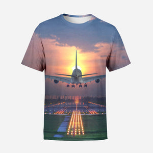 Super Boeing 747 Landing During Sunset Printed T-Shirts