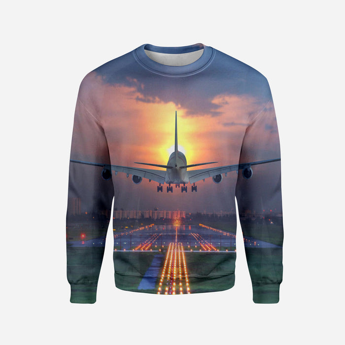 Super Boeing 747 Landing During Sunset Printed 3D Sweatshirts