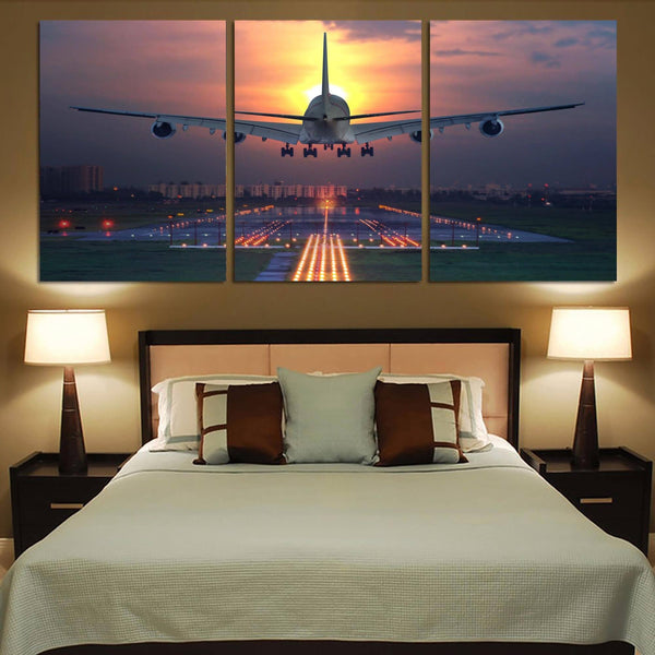 Super Boeing 747 Landing During Sunset Printed Canvas Posters (3 Pieces) Aviation Shop