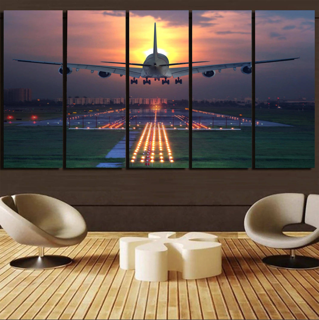 Super Boeing 747 Landing During Sunset Printed Canvas Prints (5 Pieces) Aviation Shop