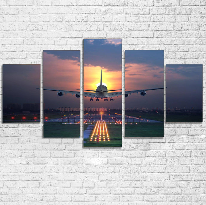 Super Boeing 747 Landing During Sunset Printed Multiple Canvas Poster Aviation Shop