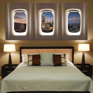 Super City View via Passenger Windows Printed Canvas Posters (3 Pieces) Aviation Shop