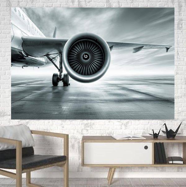 Super Cool Airliner Jet Engine Printed Canvas Posters (1 Piece)