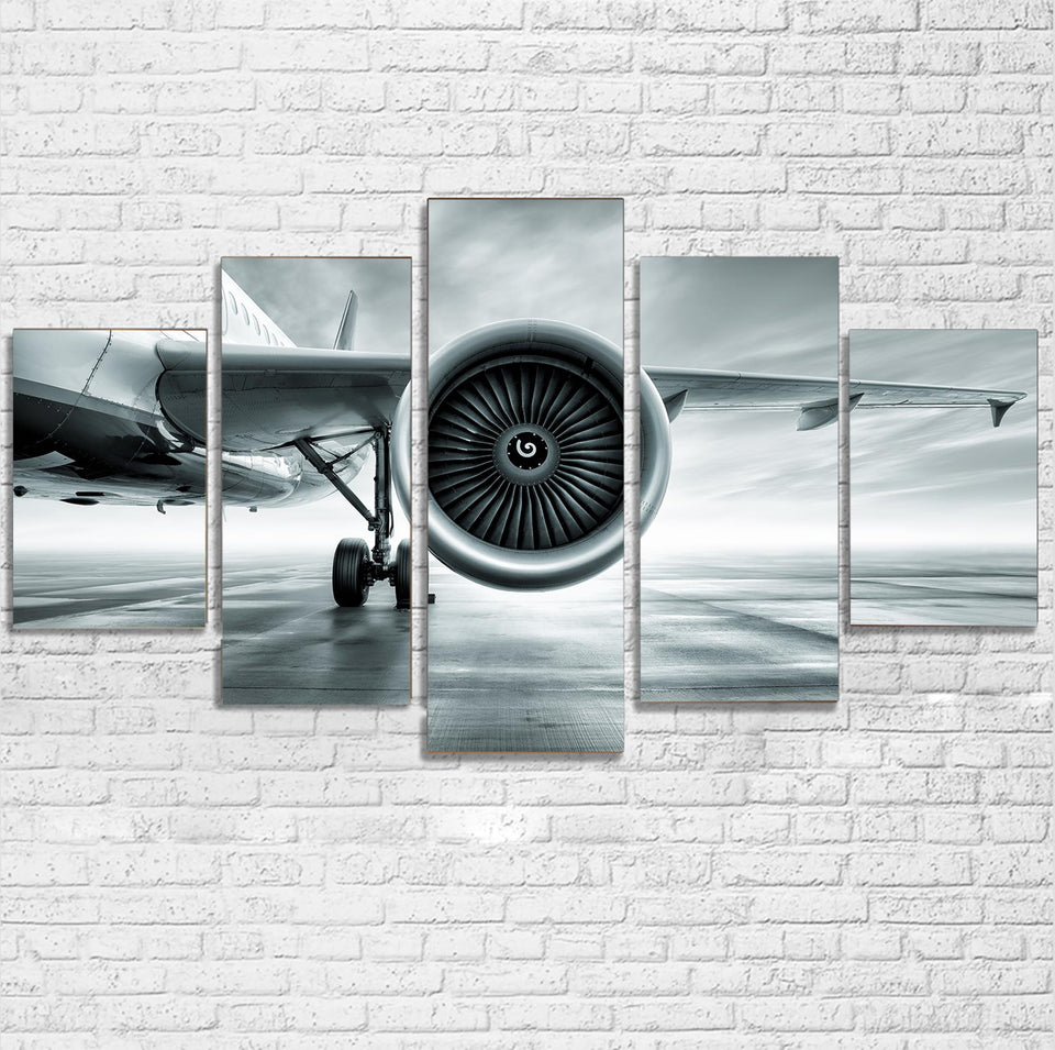 Super Cool Airliner Jet Engine Printed Multiple Canvas Poster