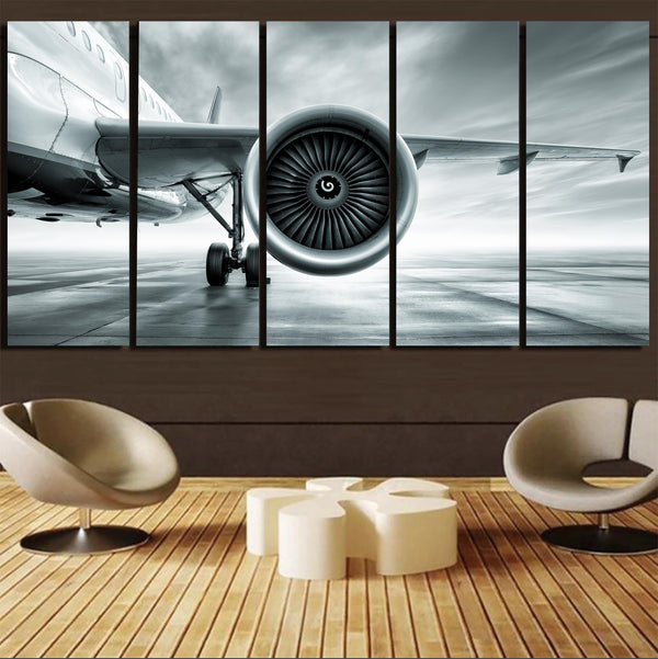 Super Cool Airliner Jet Engine Canvas Prints (5 Pieces)