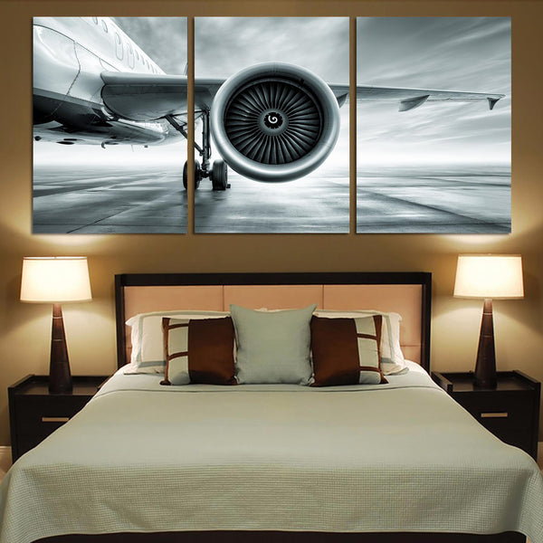 Super Cool Airliner Jet Engine Printed Canvas Posters (3 Pieces)