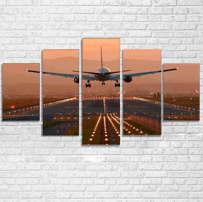 Super Cool Landing During Sunset Printed Multiple Canvas Poster