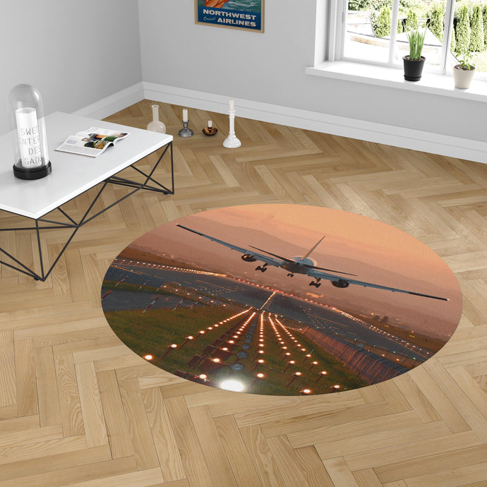 Super Cool Landing During Sunset Designed Carpet & Floor Mats (Round)