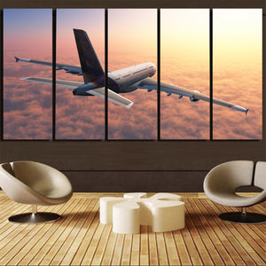 Super Cruising Airbus A380 over Clouds Canvas Prints (5 Pieces)