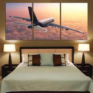 Super Cruising Airbus A380 over Clouds Printed Canvas Posters (3 Pieces)