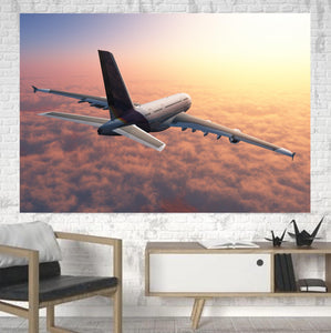 Super Cruising Airbus A380 over Clouds Printed Canvas Posters (1 Piece)