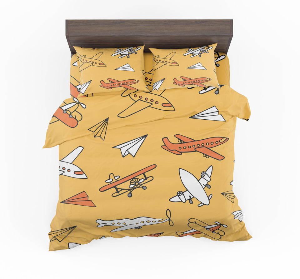 Super Drawings of Airplanes Designed Bedding Sets