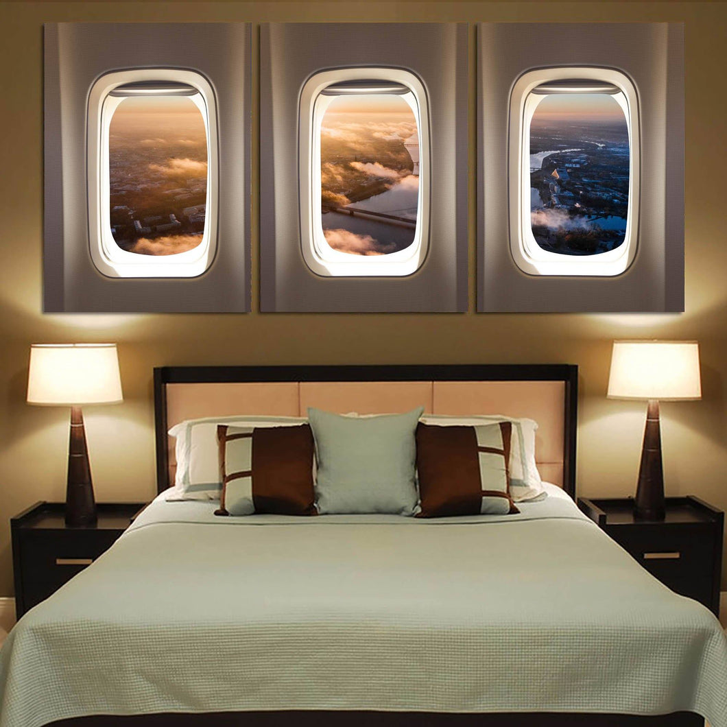 Super View from Above through Passanger Windows Printed Canvas Posters (3 Pieces) Aviation Shop