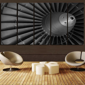 Super View of Jet Engine Printed Canvas Prints (5 Pieces) Aviation Shop