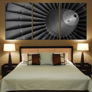 Super View of Jet Engine Printed Canvas Posters (3 Pieces) Aviation Shop