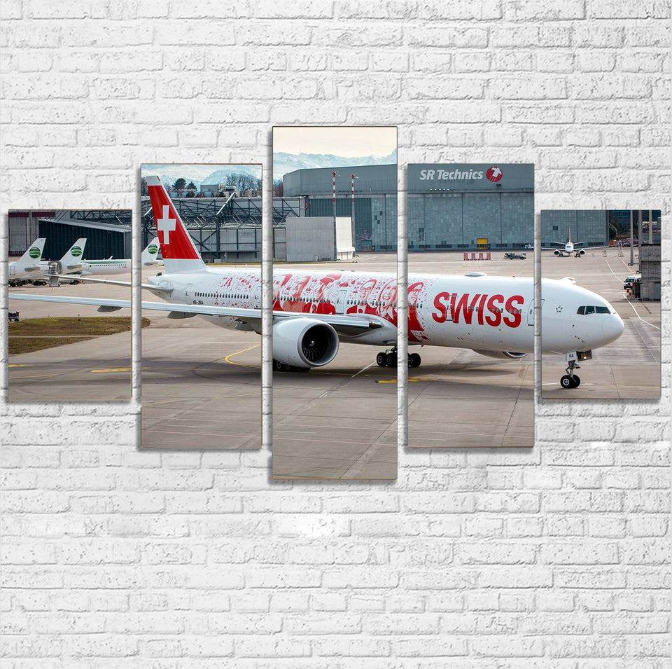 Swiss Airlines Boeing 777 Printed Multiple Canvas Poster Aviation Shop