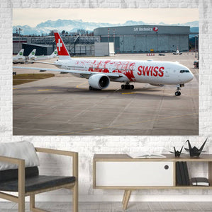 Swiss Airlines Boeing 777 Printed Canvas Posters (1 Piece) Aviation Shop