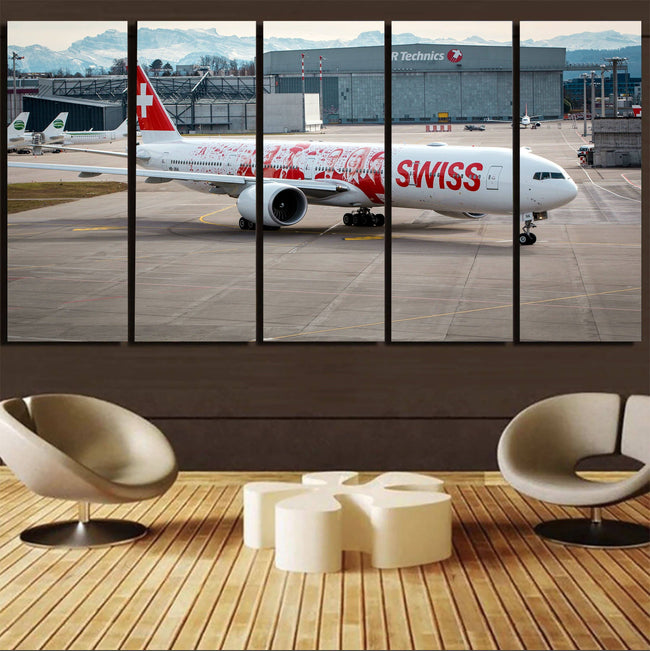 Swiss Airlines Boeing 777 Printed Canvas Prints (5 Pieces) Aviation Shop
